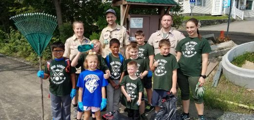 Pack 279 poses for the camera after the August 25, 2018 Rail Trail cleanup
