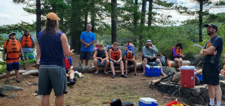"Chris Lamontagne talks about water safety on the ""pirate island"" on Crystal Lake"